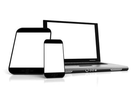 A tablet, a mobile phone and a laptop with blank screens ideal for customization Stock Photo - 18874207