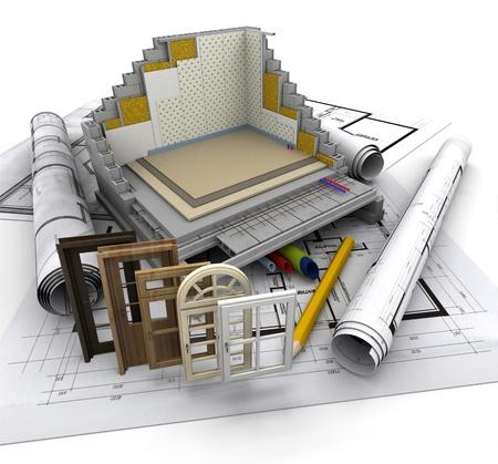 materiales de construccion: Detalles técnicos sobre la construcción de viviendas Foto de archivo
