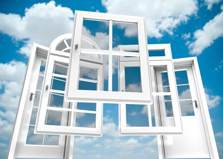 replacements: Selection of doors and windows with a blue sky on the background