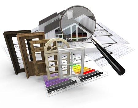 performance improvement: Home construction concept with energy efficiency chart and a selection of doors and windows Stock Photo