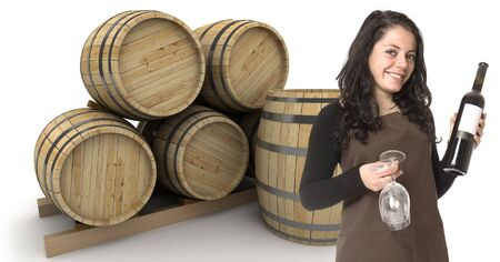 merchant: Young woman holding a wine bottle and two glasses, with wine barrels at the background