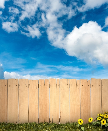 3D rendering of a wooden fence with blue sky in the background, ideal for inserting a message or image photo
