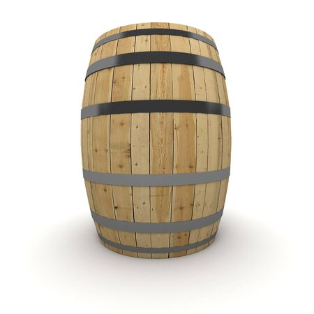 wine barrel: 3D rendering of a wine barrel on a white background