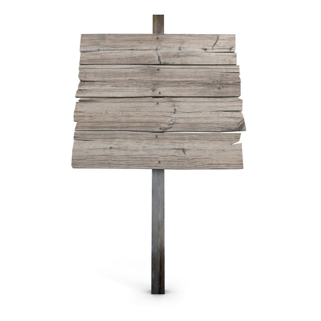 3D rendering of a wooden directional sign photo