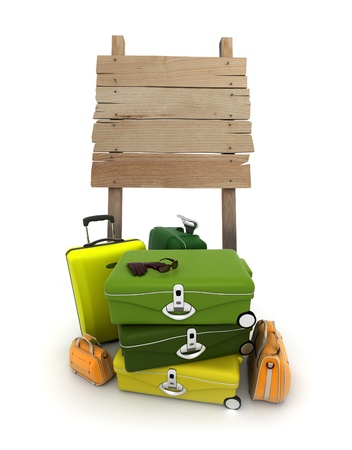 A pile of baggage and a rustic wooden sign with lots of copy space photo