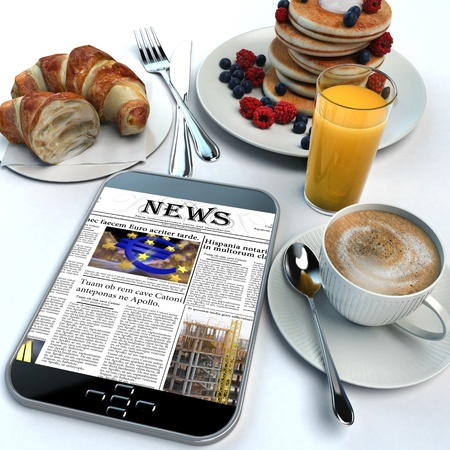 3D rendering of a breakfast and a tablet with the news photo