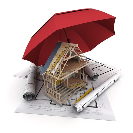 An umbrella protecting a house under construction photo