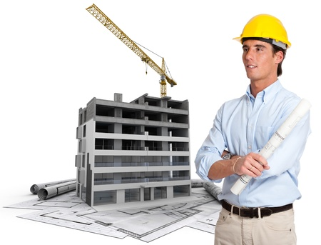 construction plans: An architect, a building in construction, and blueprints