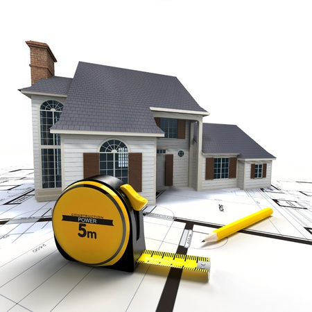 realization: Aerial view of a house on top of blueprints and architect work tools Stock Photo