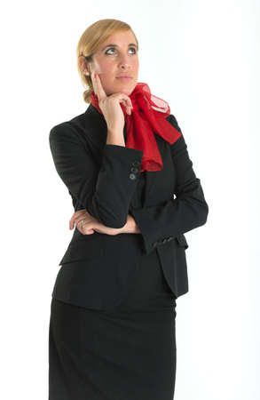 air hostess: Hostess with a thoughtful expression