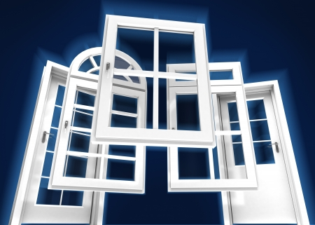 fixtures: Selection of doors and windows with a dark blue background