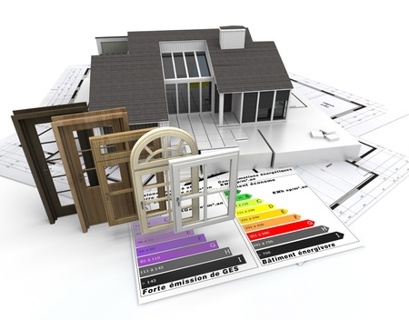 insulating: Home construction concept with energy efficiency chart and a selection of doors and windows Stock Photo