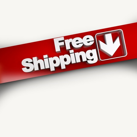 3D rendering of a free shipping concept banner, diagonal photo
