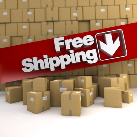 free background: Free shipping banner on a background with piles of boxes