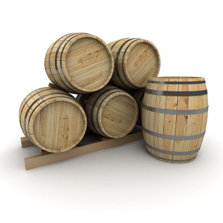 whisky: 3D rendering of a group of wine barrels on a white background Stock Photo