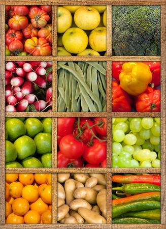 Composition of fruit and vegetables framed in wood photo