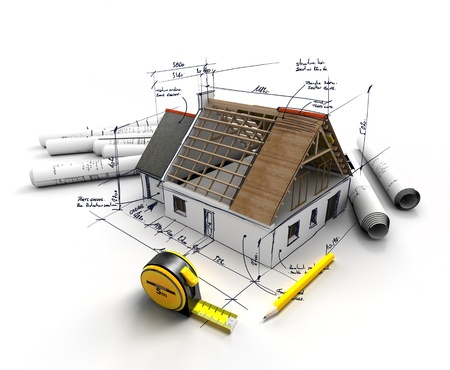 explanations: House under construction on top of blueprints with handwritten notes and measures Stock Photo