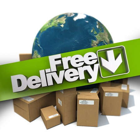 delivery package: 3D rendering of a free delivery concept sign with the Earth and packages