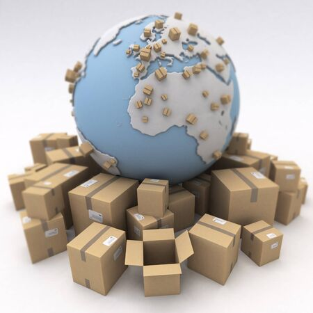 international shipping: The world and lots of packages