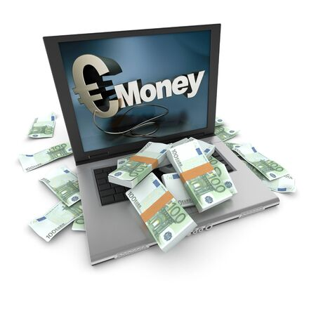 increase sales: A portable computer with a money written on the screen, with the keyboard cover in hundred euro bills Stock Photo