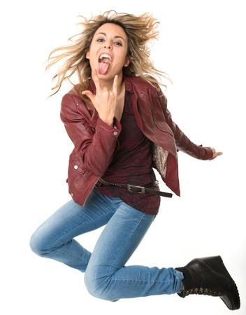 rebellious: Jumping female rock fan