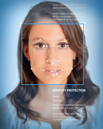 Female face with lines from a facial recognition software photo