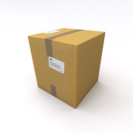 packing tape: 3D rendering of a cardboard box, closed with brown packing tape on a white background