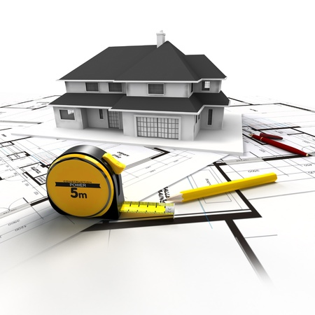 architect tools: Aerial view of a house on top of blueprints and architect work tools Stock Photo