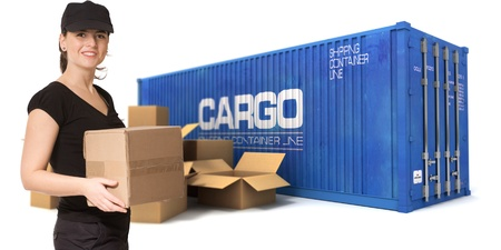 messenger: Female worker with a cargo container and boxes on the background