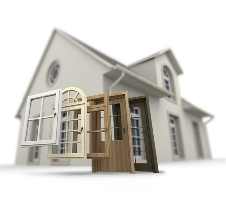 A house with a choice of doors and windows Stock Photo - 19148594