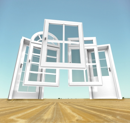 replacement: Selection of doors and windows with a rural landscape on the background