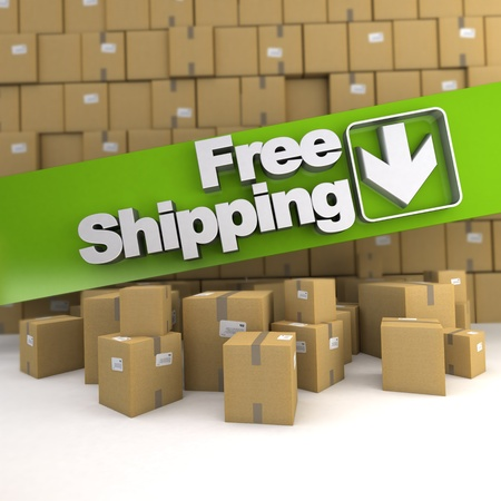 Free shipping banner on a background with piles of boxes photo