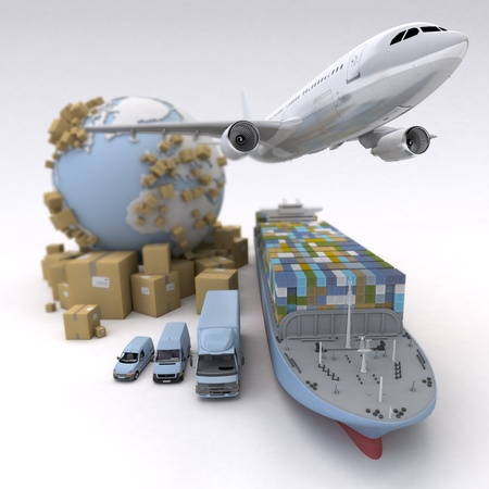 international shipping: Cargo transportation image with the Earth, cardboard boxes and a whole shipping fleet including cargo ship, plane, truck, lorry, van, etc..