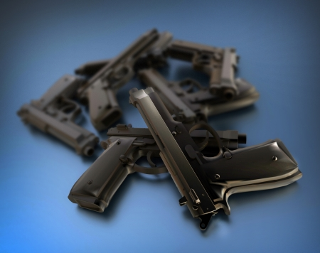 defensive: 3D rendering of a pile of guns on a blue surface