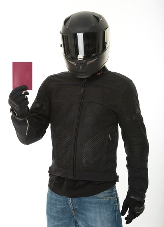 crash helmet: Bicker in black wearing his crash helmet