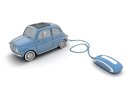 online auction: Blue vintage car connected to a computer mouse