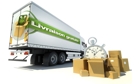 merchandise: Urgent Truck transportation , free shipping service in French: Livraison gratuite