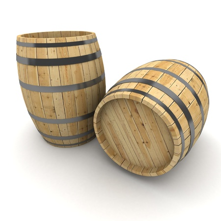 3D rendering of a pair of wine barrels on a white background photo