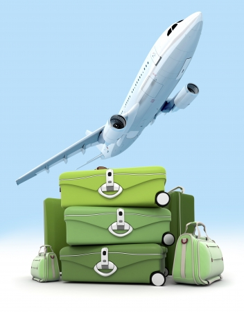 A pile of luggage and a flying plane, 3D rendering photo