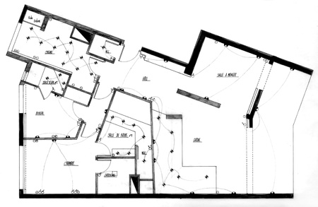 scanned: Scanned plan of an apartment in French Stock Photo