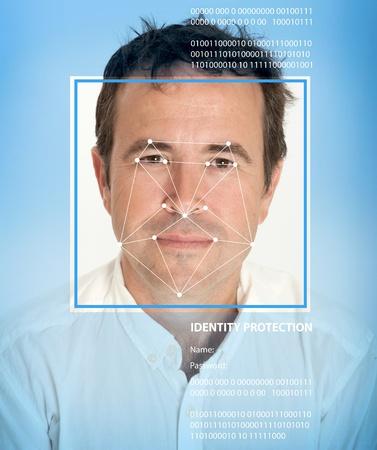 reconocimiento: Cara del hombre con las l�neas de un software de reconocimiento facial Foto de archivo