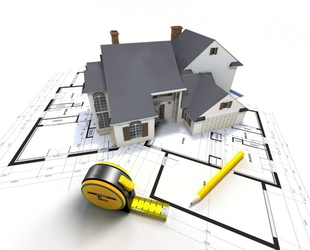 Aerial view of a house on top of blueprints and architect work tools Stock Photo - 19327893