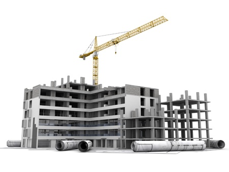 construction project: Building under construction with crane, on top of blueprints