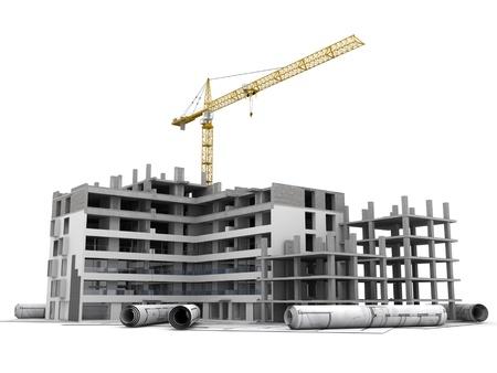 Gebäude im Bau mit Kran, oben auf Blaupausen