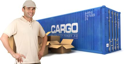 A  messenger with a cargo container and boxes on the background photo