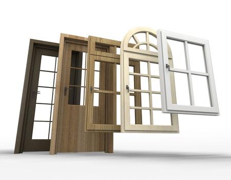 Selectie van de deuren en ramen met een witte achtergrond
