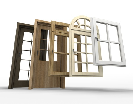 replacement: Selection of doors and windows with a white background