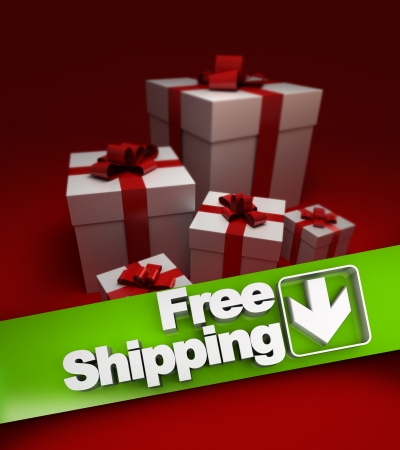 stating: Group of presents with a banner stating free shipping