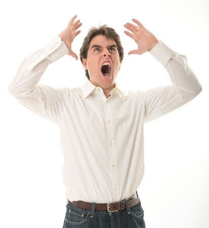hysterics: Furious young man, yelling Stock Photo