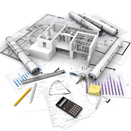 estate planning: Office building with open interior on top of blueprints, documents and mortgage calculations